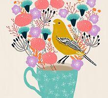 Bird and Flowers - Warbler by Andrea Lauren by Andrea Lauren