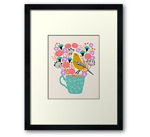 Bird and Flowers - Warbler by Andrea Lauren Framed Print
