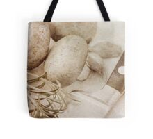 Still life of Chestnut mushrooms and Rosemary Tote Bag