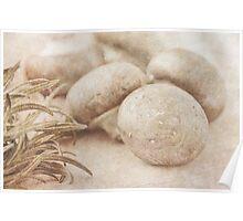 Still Life Of Chestnut Mushrooms And Rosemary Poster