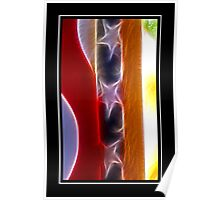 Red White & Blue Abstract Poster