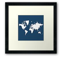 World Splatter Map - wroyal blue Framed Print