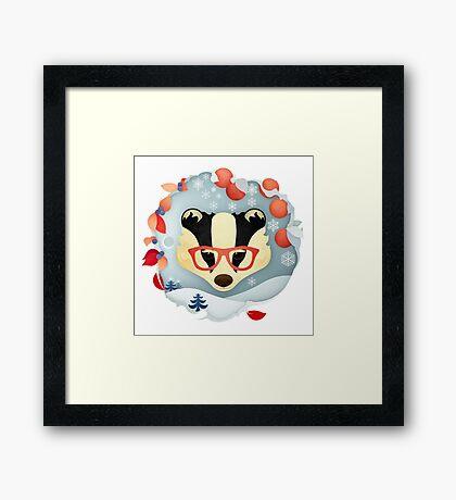 Christmas Wildlife: Badger Framed Print