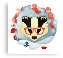 Christmas Wildlife: Badger Canvas Print