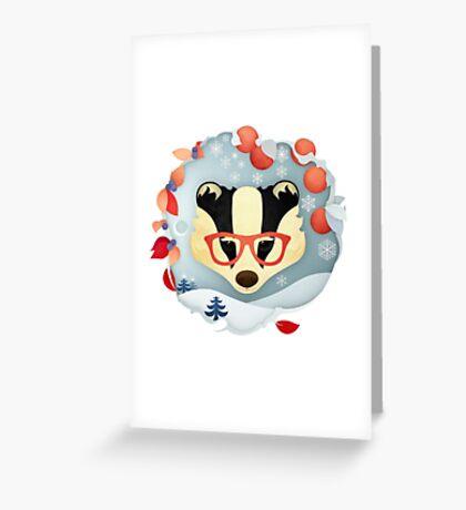 Christmas Wildlife: Badger Greeting Card