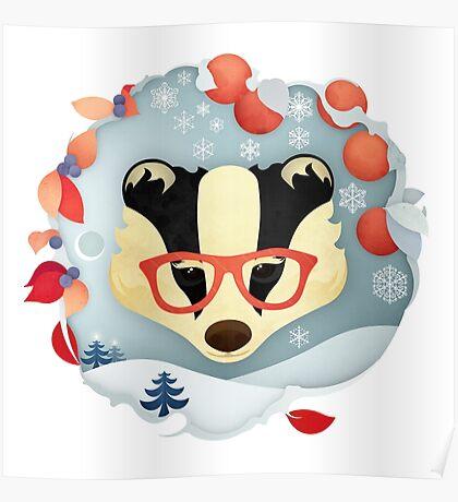 Christmas Wildlife: Badger Poster