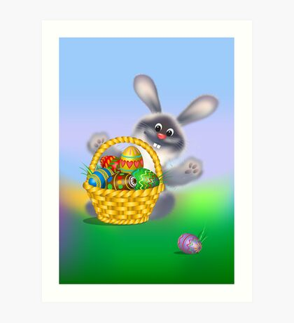 Easter Bunny with Egg Basket Art Print
