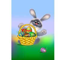 Easter Bunny with Egg Basket Photographic Print