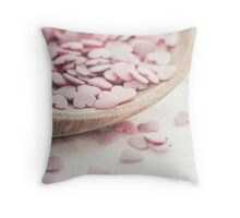 Romantic heart shaped sprinkles Throw Pillow