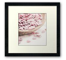 Romantic heart shaped sprinkles Framed Print