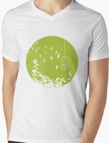 Flying Free 2  Green Large Mens V-Neck T-Shirt