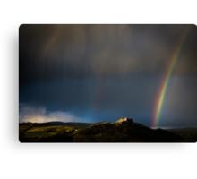 Carreg Cennen Castle & Rainbow Canvas Print