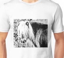 pony portrait in black and white Unisex T-Shirt