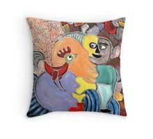figure and  a rooster Throw Pillow