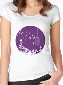 Flying Free 2 Purple Large Women's Fitted Scoop T-Shirt