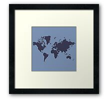 World Splatter Map - npowder blue Framed Print