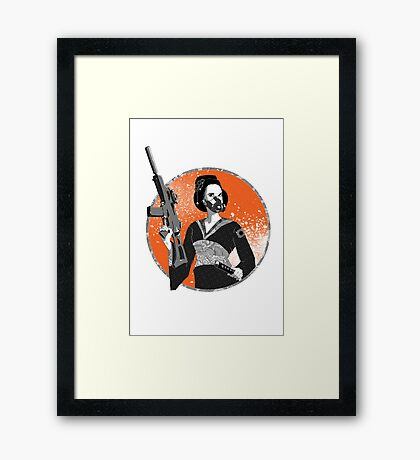 Geisha and Machine Gun Framed Print