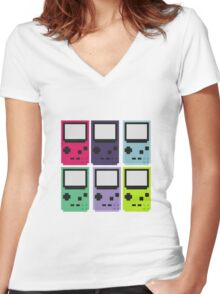Gameboy colors Women's Fitted V-Neck T-Shirt