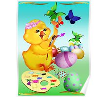 Easter Chick Paints Poster