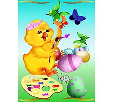 Easter Chick Paints Photographic Print