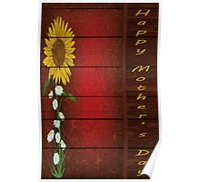 Single Sunflower on Burgundy Multiple Products Poster