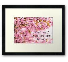 What am I thankful for today? Framed Print