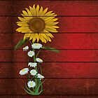 Single Sunflower on Burgundy Multiple Products by Vickie Emms