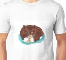 Swiss Cheese snagged by Kitten Unisex T-Shirt