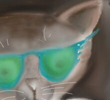 Kitty wearing Sunglasses Sticker