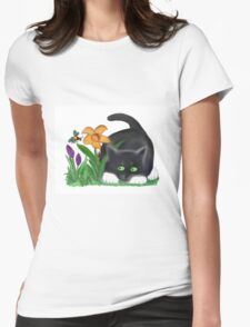 Bee and Kitten in Spring Garden Womens Fitted T-Shirt