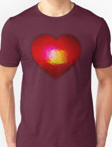 Red geometric burning heart T-Shirt