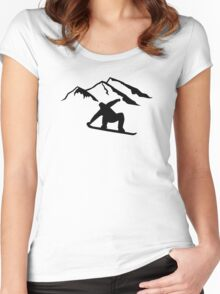 Mountains snowboarding Women's Fitted Scoop T-Shirt