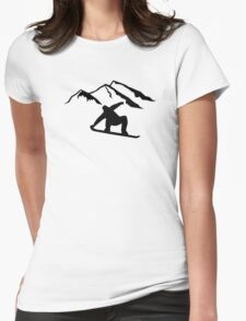 Mountains snowboarding Womens Fitted T-Shirt