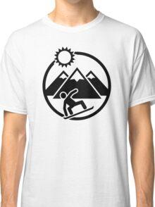 Snowboard mountains sun Classic T-Shirt