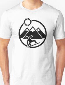 Snowboard mountains sun Unisex T-Shirt