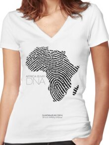 Africa is my DNA Women's Fitted V-Neck T-Shirt