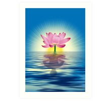 Lotus Reflecting Yoga Art Print