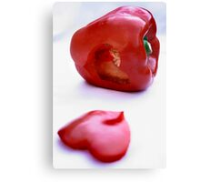 Red pepper with heart Canvas Print