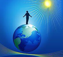 Man On Globe by lydiasart