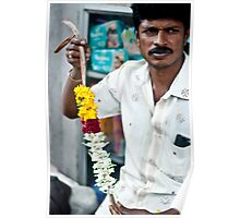 Candid portrait of a flower seller Poster