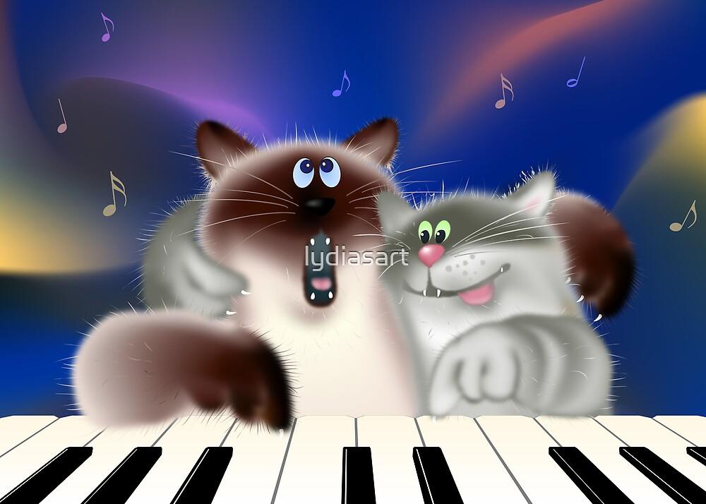 Cats Playing Piano by lydiasart