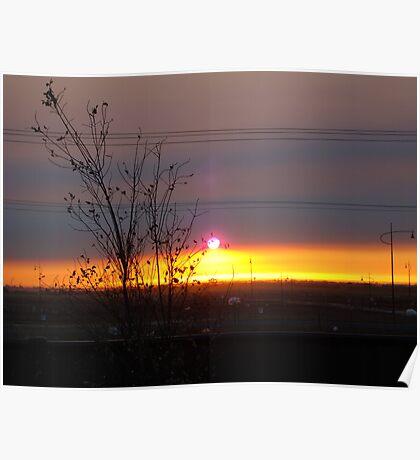 Sunrise and smoke Poster