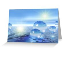 3-d Spheres Above the Water Greeting Card
