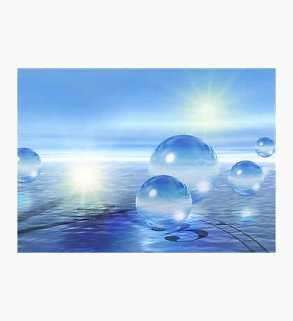 3-d Spheres Above the Water Photographic Print