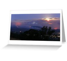 Moonrise over Yarra Valley fires. Greeting Card