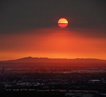 bushfire sunset by simon gleeson