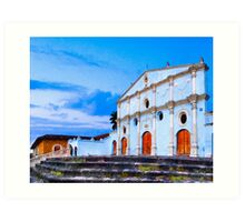 Dusk at Iglesia San Francisco in Granada Nicaragua Art Print