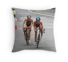 Racing up the hill Throw Pillow