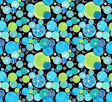 Quirky Blue Moons on Black Pattern by helikettle