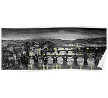 BW Prague Bridges Poster